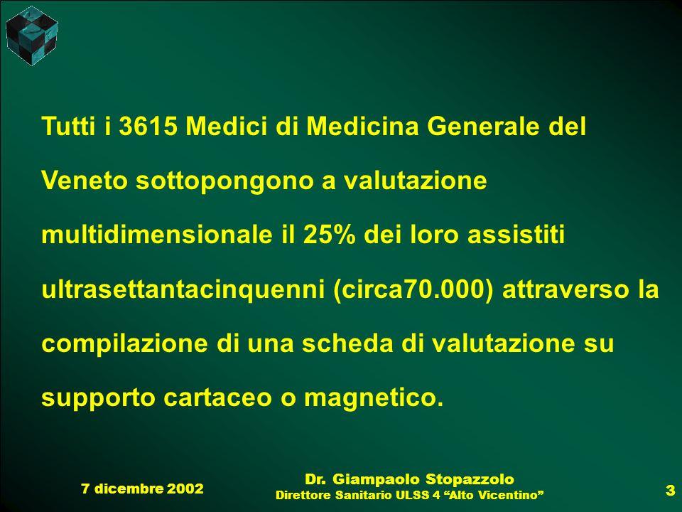 Tutti i 3615 Medici di Medicina Generale del Veneto sottopongono a valutazione multidimensionale il 25% dei loro assistiti ultrasettantacinquenni (circa70.000) attraverso la compilazione di una scheda di valutazione su supporto cartaceo o magnetico.