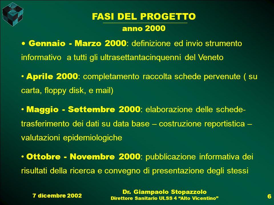 FASI DEL PROGETTO anno 2000 Gennaio - Marzo 2000: definizione ed invio strumento informativo a tutti gli ultrasettantacinquenni del Veneto.