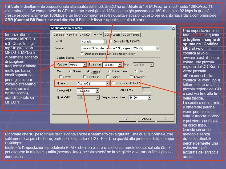 Il Bitrate è direttamente proporzionale alla qualità dell mp3