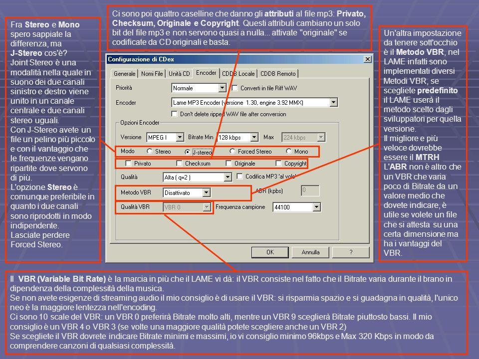 Ci sono poi quattro caselline che danno gli attributi al file mp3: Privato, Checksum, Originale e Copyright. Questi attributi cambiano un solo bit del file mp3 e non servono quasi a nulla... attivate originale se codificate da CD originali e basta.