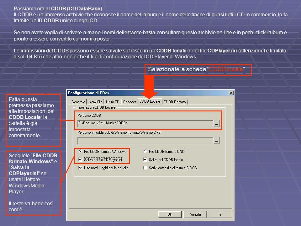 Selezionate la scheda CDDB locale