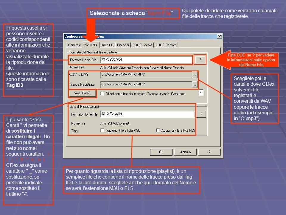 Fate CLIC su per vedere le Informazioni sulle opzioni del Nome File