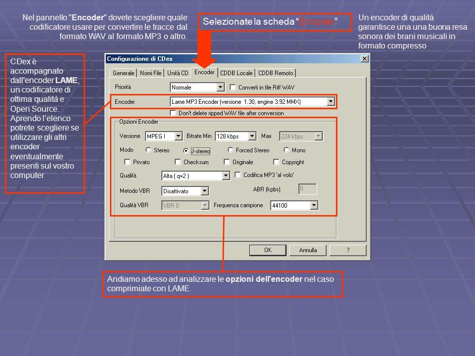 Selezionate la scheda Encoder