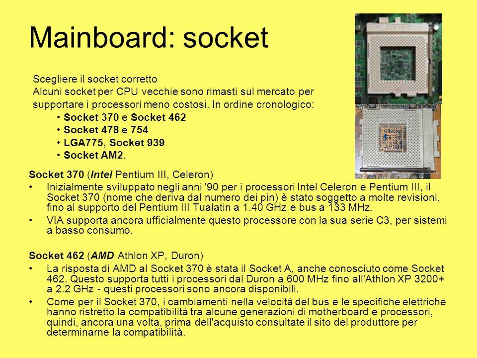 Mainboard: socket Scegliere il socket corretto