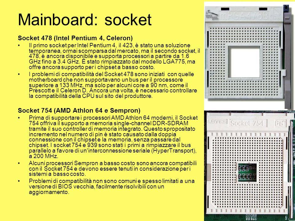 Mainboard: socket Socket 478 (Intel Pentium 4, Celeron)