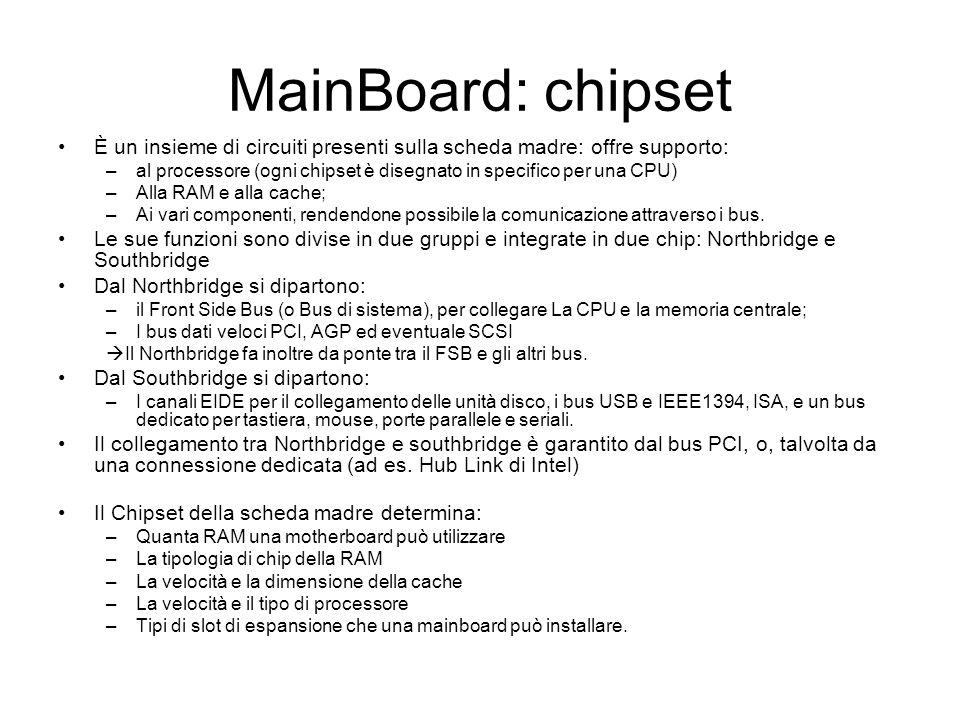 MainBoard: chipset È un insieme di circuiti presenti sulla scheda madre: offre supporto: