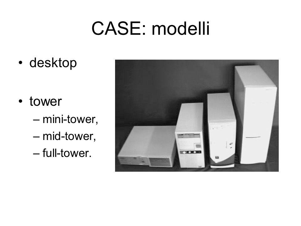 CASE: modelli desktop tower mini-tower, mid-tower, full-tower.