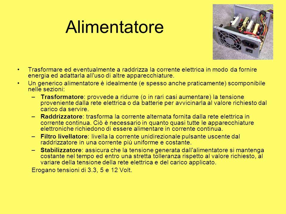 Alimentatore Trasformare ed eventualmente a raddrizza la corrente elettrica in modo da fornire energia ed adattarla all uso di altre apparecchiature.