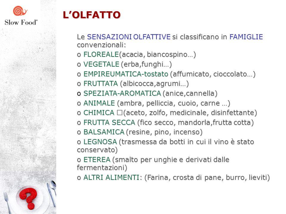 L'OLFATTO Le SENSAZIONI OLFATTIVE si classificano in FAMIGLIE convenzionali: FLOREALE(acacia, biancospino…)