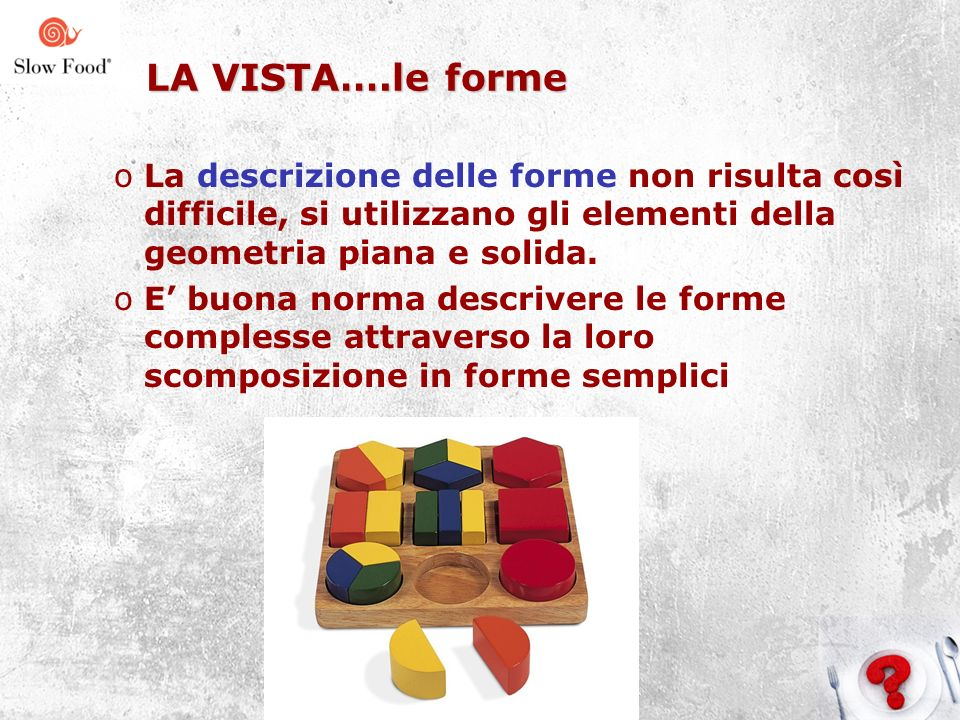 LA VISTA….le forme La descrizione delle forme non risulta così difficile, si utilizzano gli elementi della geometria piana e solida.