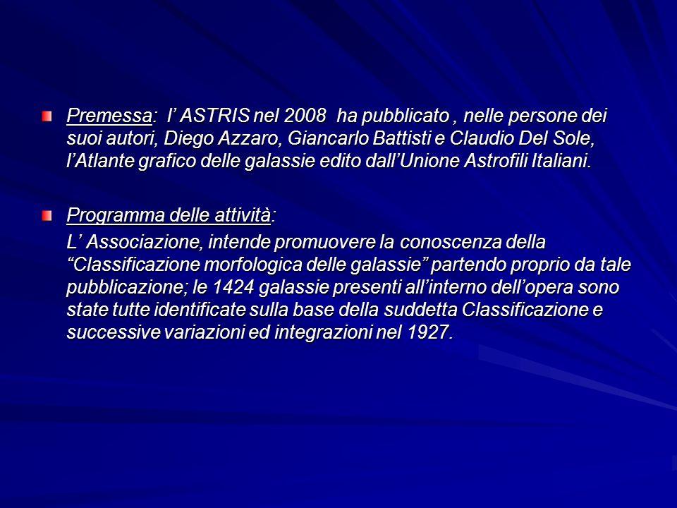 Premessa: l' ASTRIS nel 2008 ha pubblicato , nelle persone dei suoi autori, Diego Azzaro, Giancarlo Battisti e Claudio Del Sole, l'Atlante grafico delle galassie edito dall'Unione Astrofili Italiani.