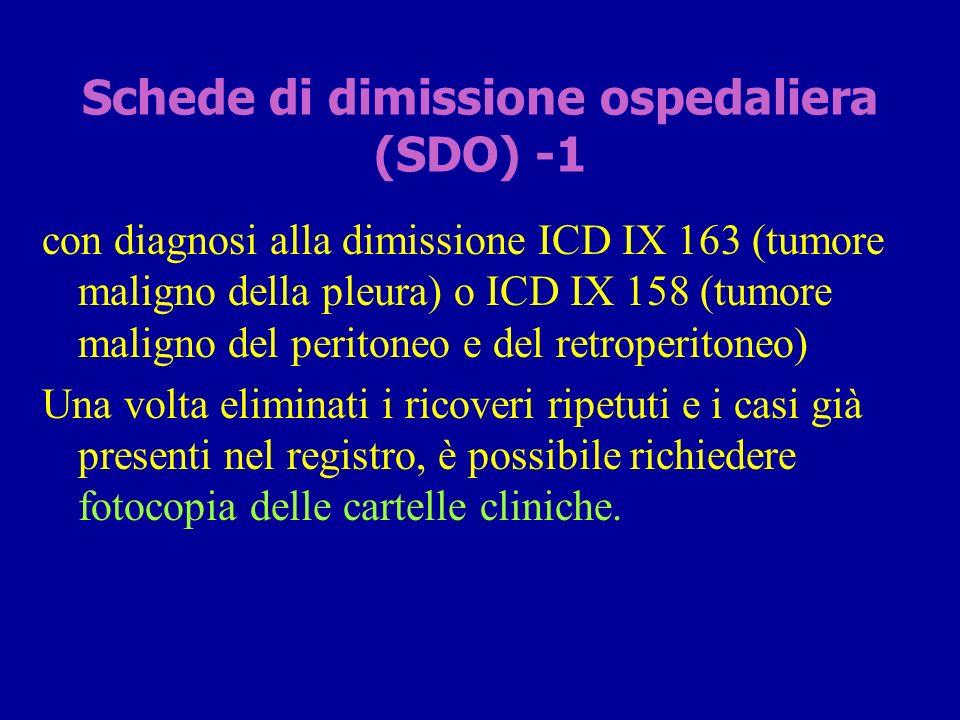 Schede di dimissione ospedaliera (SDO) -1