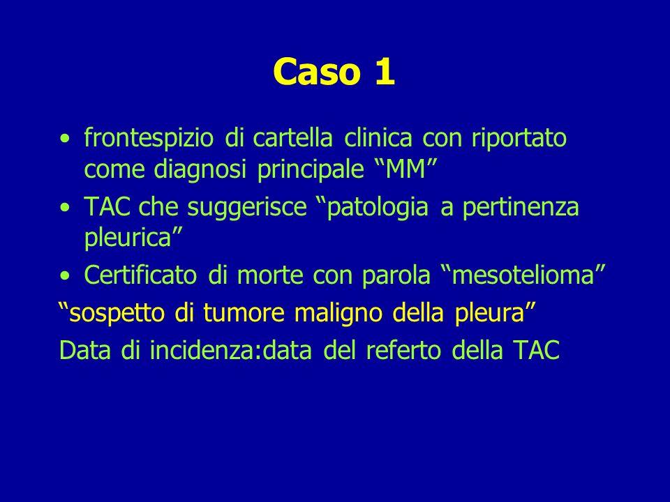 Caso 1 frontespizio di cartella clinica con riportato come diagnosi principale MM TAC che suggerisce patologia a pertinenza pleurica