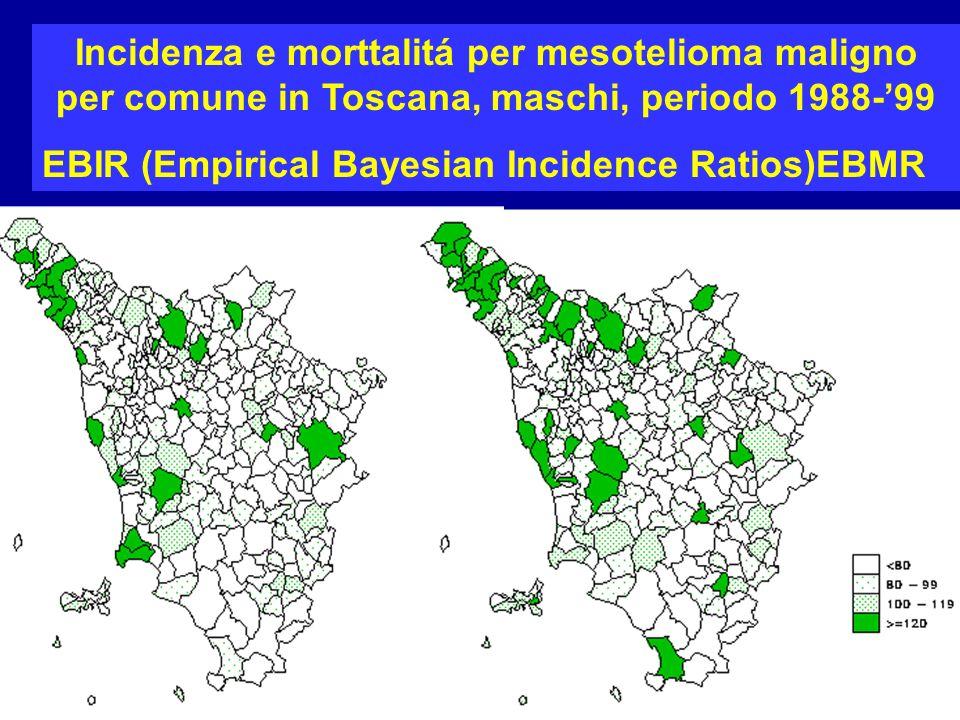 Incidenza e morttalitá per mesotelioma maligno per comune in Toscana, maschi, periodo 1988-'99