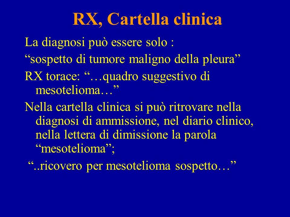 RX, Cartella clinica La diagnosi può essere solo :