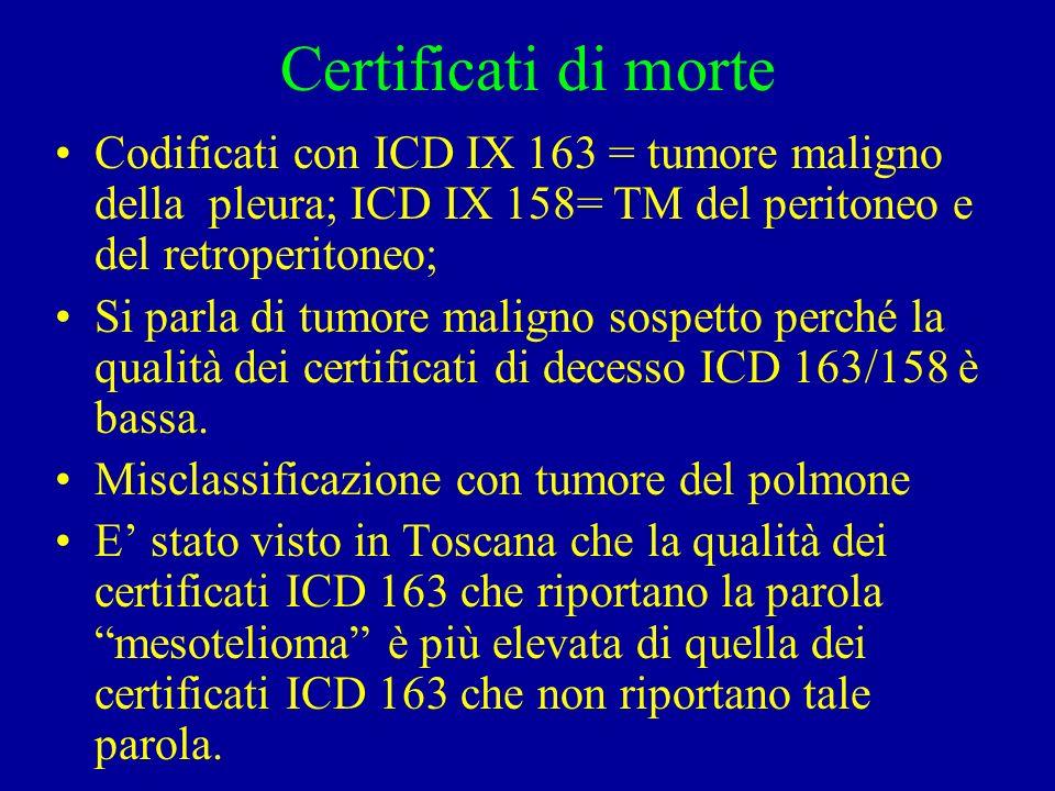 Certificati di morte Codificati con ICD IX 163 = tumore maligno della pleura; ICD IX 158= TM del peritoneo e del retroperitoneo;