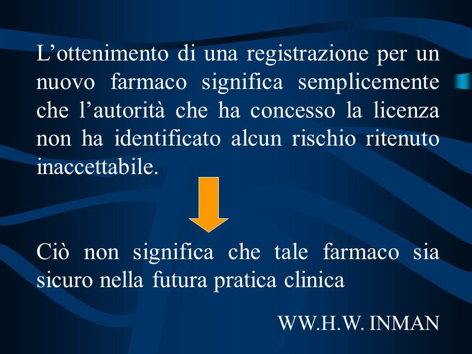 L'ottenimento di una registrazione per un nuovo farmaco significa semplicemente che l'autorità che ha concesso la licenza non ha identificato alcun rischio ritenuto inaccettabile.