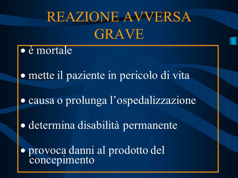 REAZIONE AVVERSA GRAVE