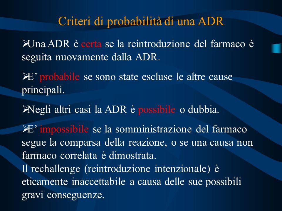 Criteri di probabilità di una ADR