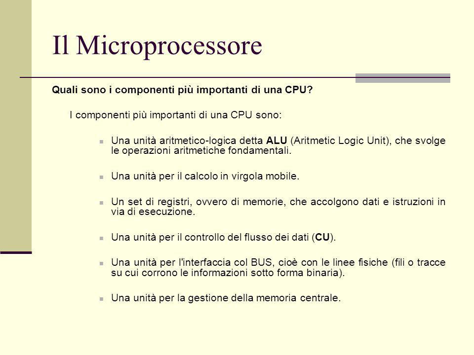 Il Microprocessore Quali sono i componenti più importanti di una CPU