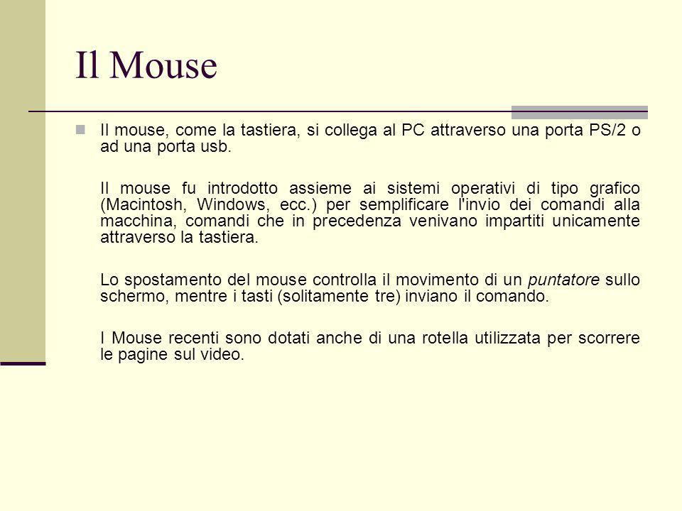 Il MouseIl mouse, come la tastiera, si collega al PC attraverso una porta PS/2 o ad una porta usb.