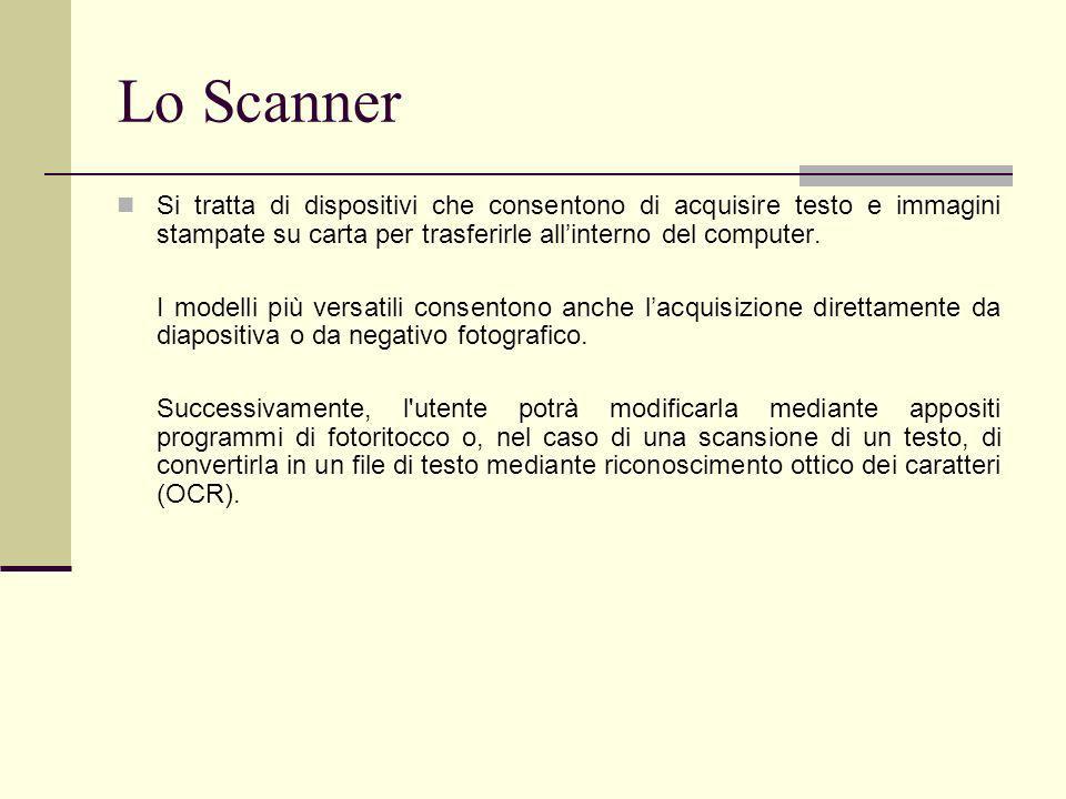 Lo ScannerSi tratta di dispositivi che consentono di acquisire testo e immagini stampate su carta per trasferirle all'interno del computer.