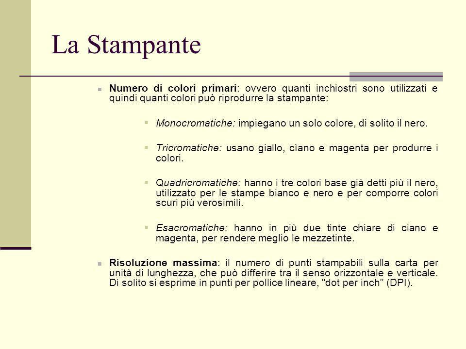 La StampanteNumero di colori primari: ovvero quanti inchiostri sono utilizzati e quindi quanti colori può riprodurre la stampante: