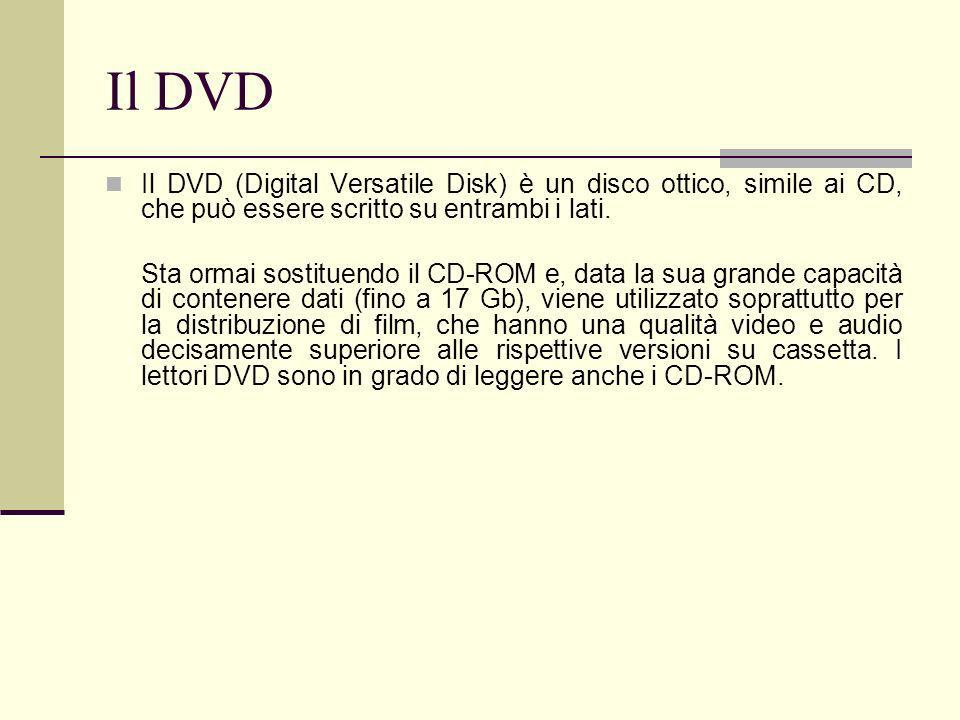 Il DVD Il DVD (Digital Versatile Disk) è un disco ottico, simile ai CD, che può essere scritto su entrambi i lati.