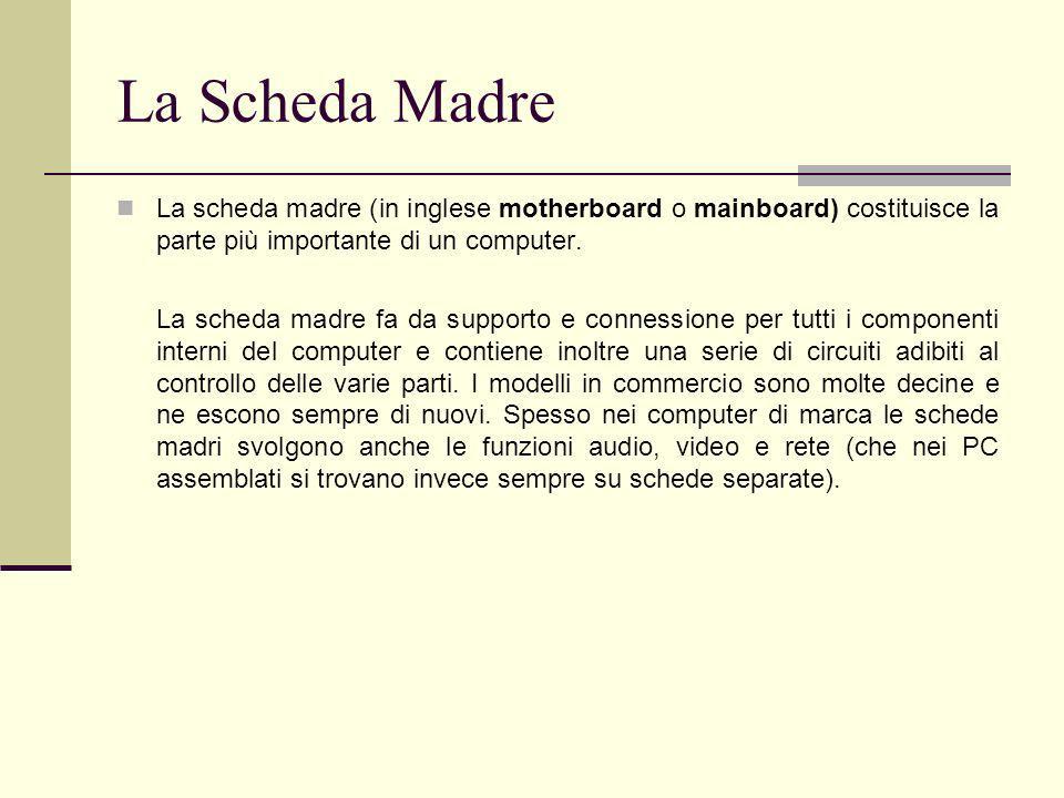 La Scheda Madre La scheda madre (in inglese motherboard o mainboard) costituisce la parte più importante di un computer.