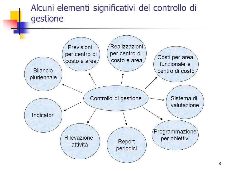 Alcuni elementi significativi del controllo di gestione
