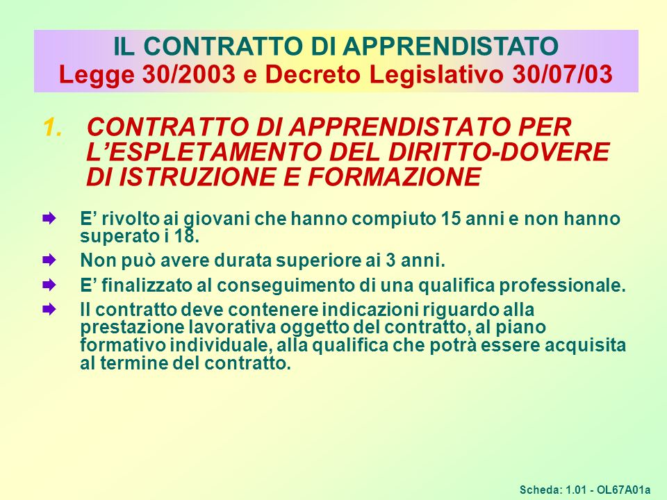 IL CONTRATTO DI APPRENDISTATO Legge 30/2003 e Decreto Legislativo 30/07/03