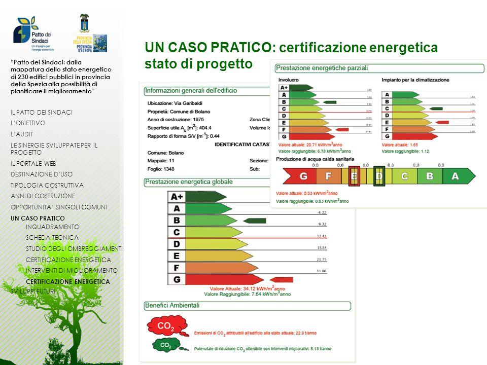 UN CASO PRATICO: certificazione energetica stato di progetto