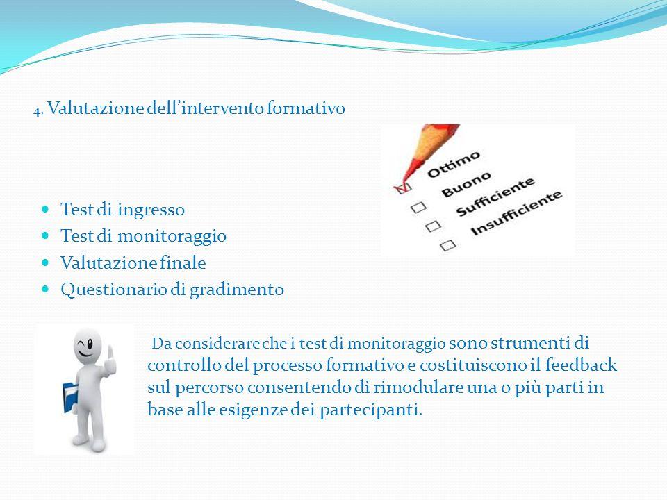4. Valutazione dell'intervento formativo