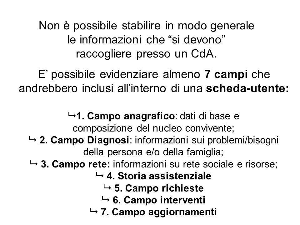 Non è possibile stabilire in modo generale le informazioni che si devono raccogliere presso un CdA.