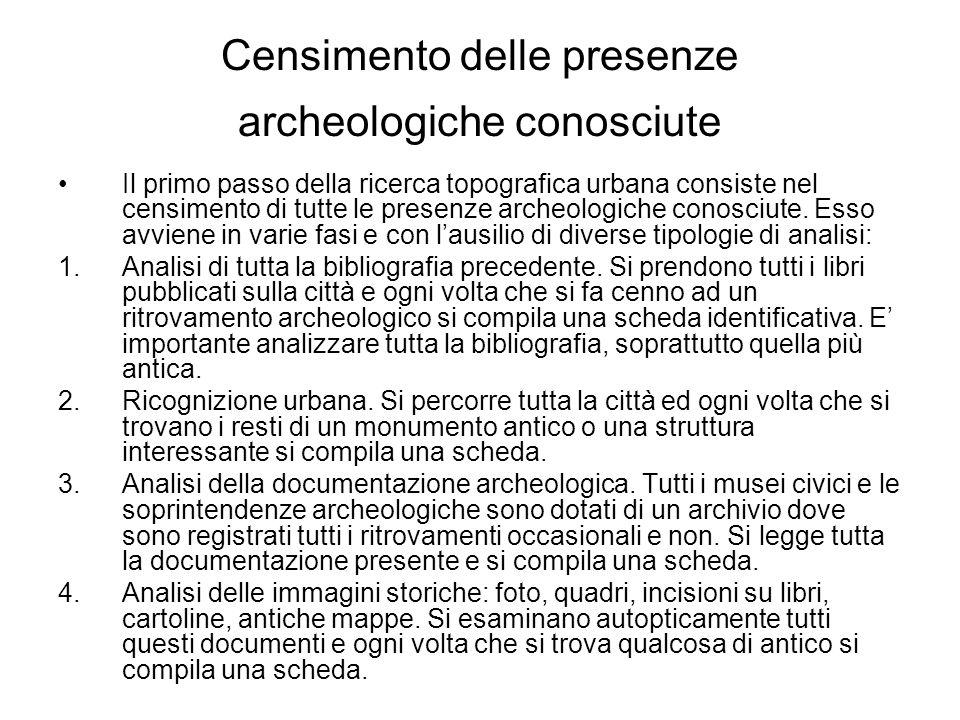 Censimento delle presenze archeologiche conosciute