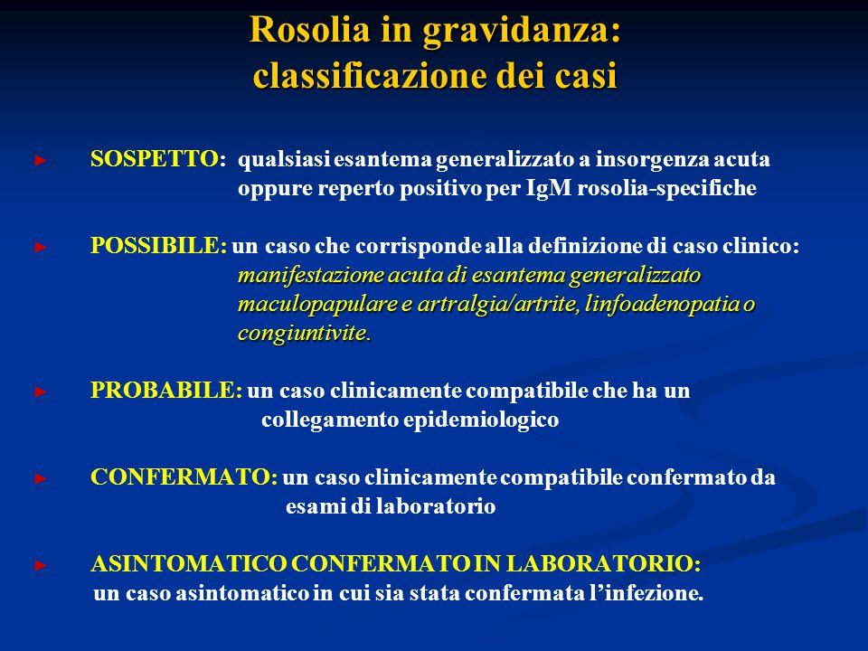 Rosolia in gravidanza: classificazione dei casi