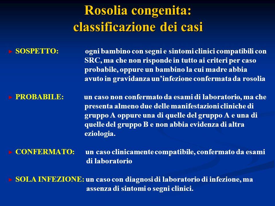 Rosolia congenita: classificazione dei casi