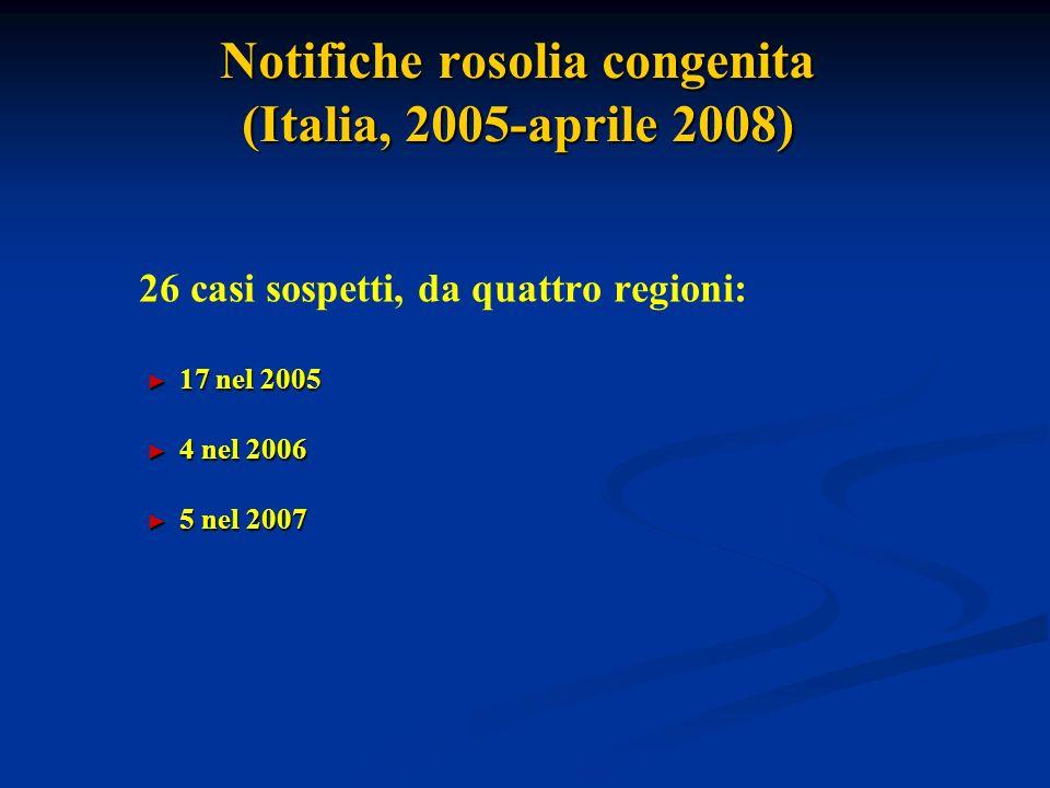 Notifiche rosolia congenita (Italia, 2005-aprile 2008)
