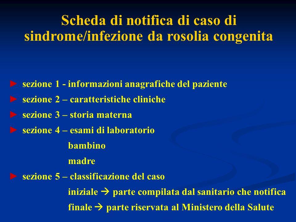 Scheda di notifica di caso di sindrome/infezione da rosolia congenita