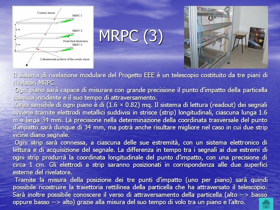 MRPC (3) Il sistema di rivelazione modulare del Progetto EEE è un telescopio costituito da tre piani di rivelatori MRPC.