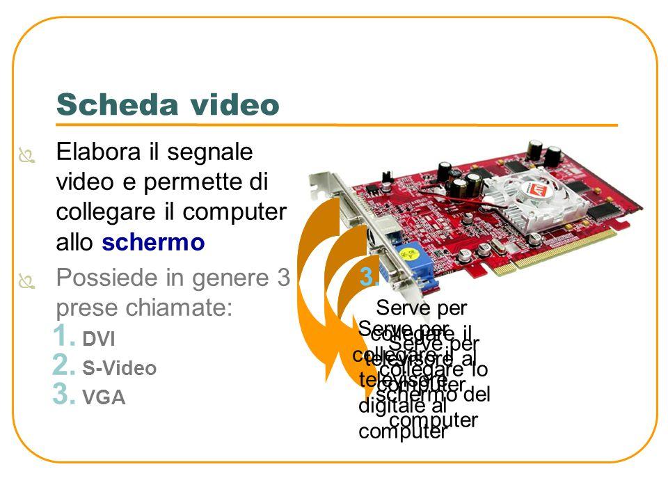 Scheda video Elabora il segnale video e permette di collegare il computer allo schermo. Possiede in genere 3 prese chiamate: