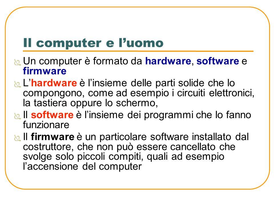 Il computer e l'uomo Un computer è formato da hardware, software e firmware.