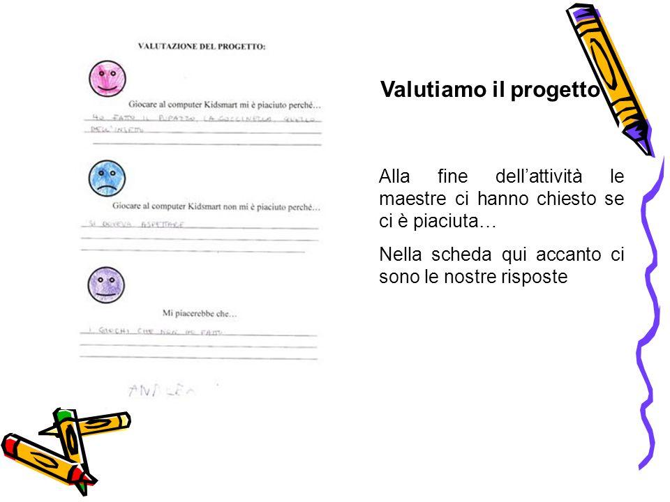 Valutiamo il progetto Alla fine dell'attività le maestre ci hanno chiesto se ci è piaciuta… Nella scheda qui accanto ci sono le nostre risposte.