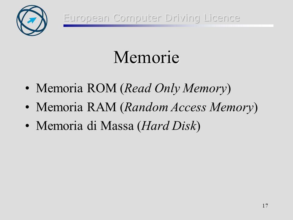 Memorie Memoria ROM (Read Only Memory)