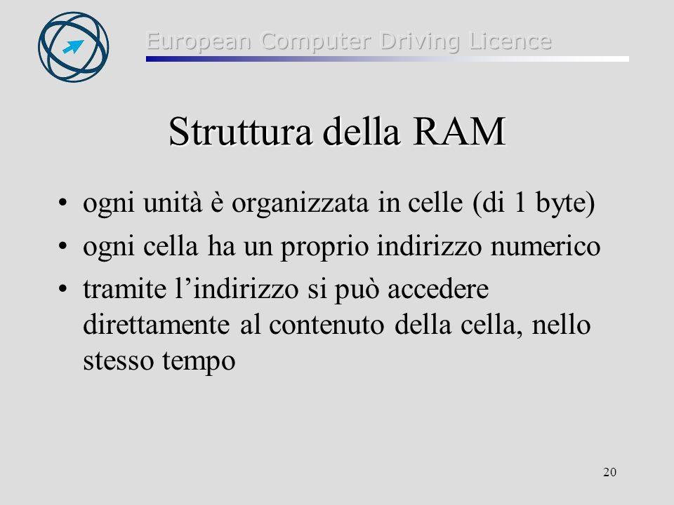 Struttura della RAM ogni unità è organizzata in celle (di 1 byte)