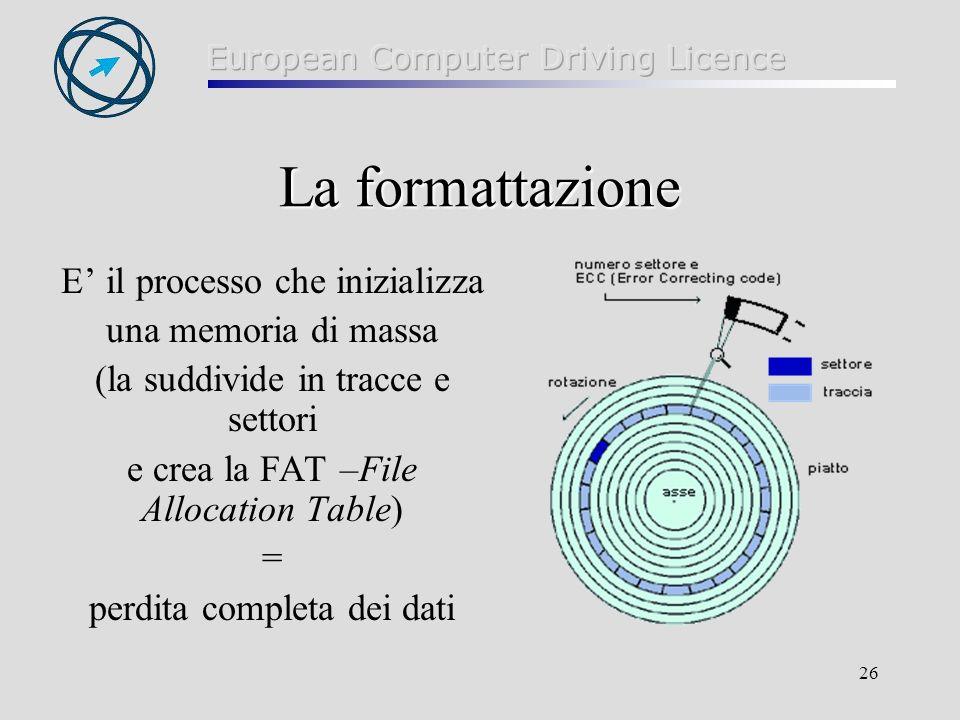 La formattazione E' il processo che inizializza una memoria di massa
