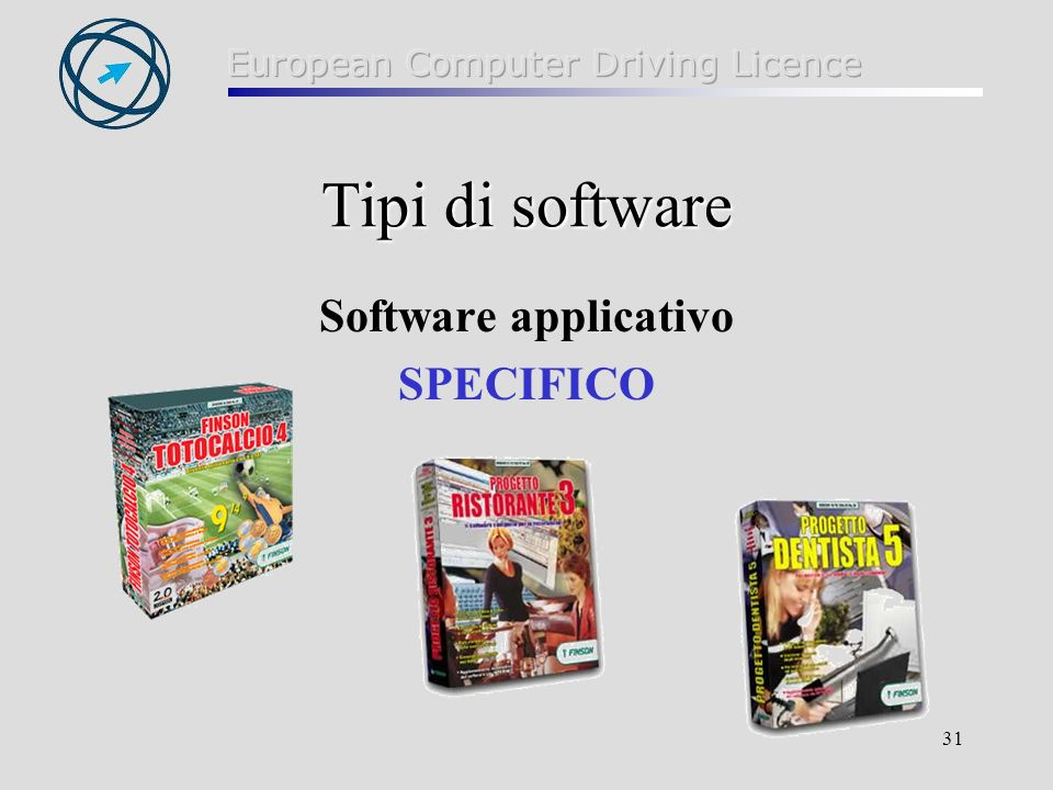 Tipi di software Software applicativo SPECIFICO