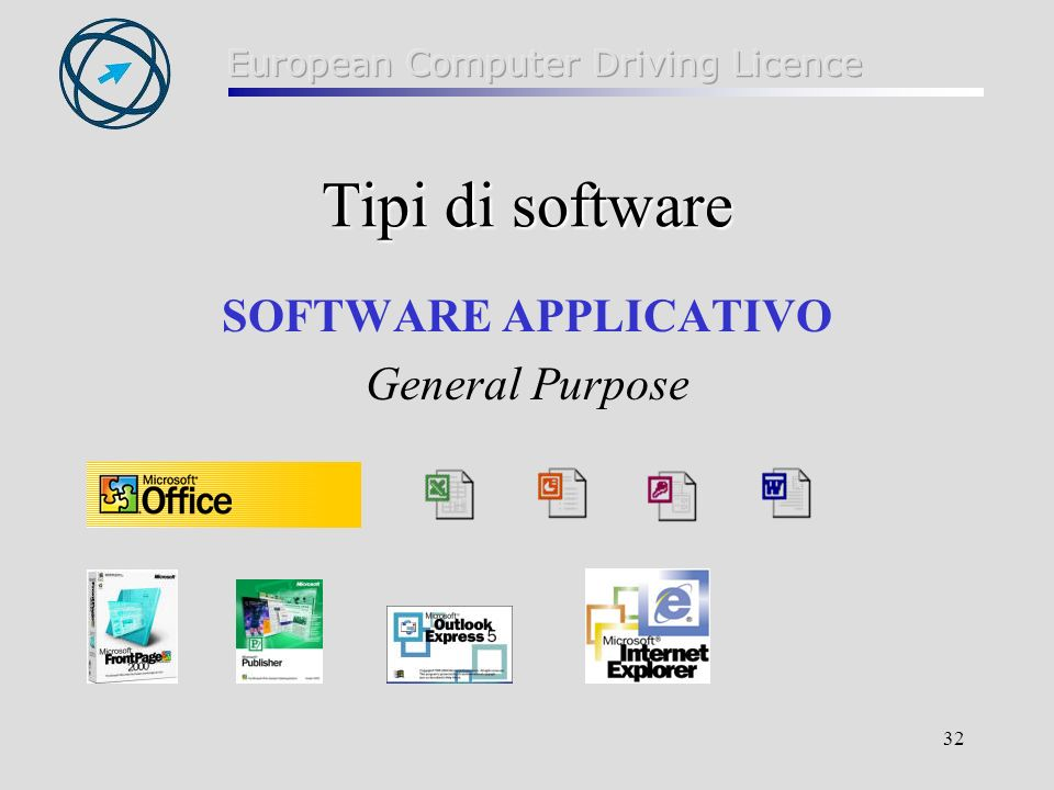 Tipi di software SOFTWARE APPLICATIVO General Purpose