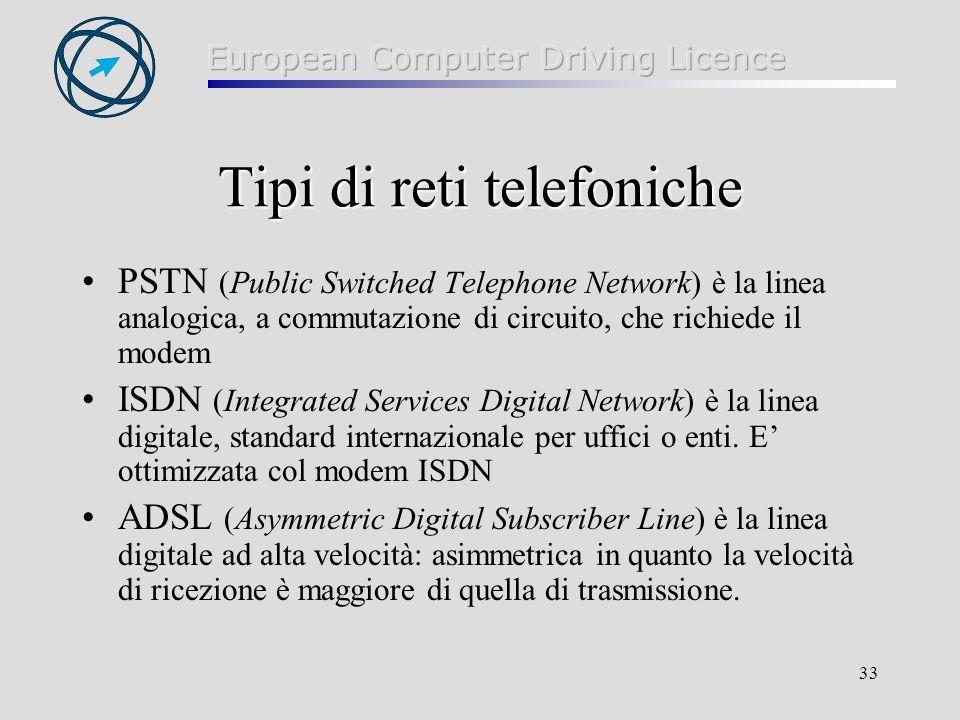 Tipi di reti telefoniche