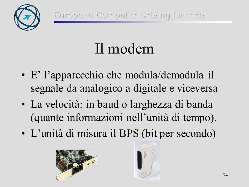 Il modem E' l'apparecchio che modula/demodula il segnale da analogico a digitale e viceversa.